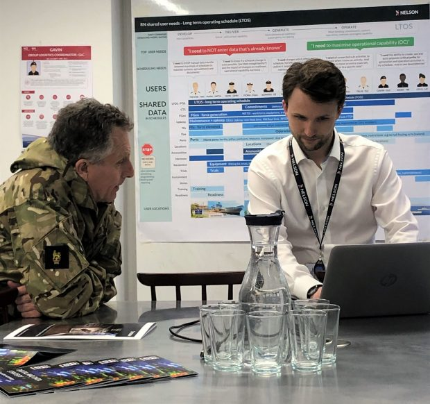 Chief of Defence Staff Sir Nick Carter with David Tagg-Oram sit together in the NELSON digital lab in Her Majesty's Naval Lab in Semaphore Tower in Portsmouth.