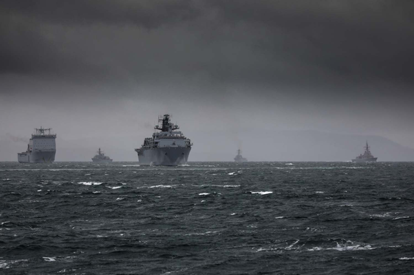 Ships on the sea as seen by a participant from Joint Warrior