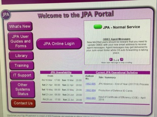 A screen shot of the JPA user interface