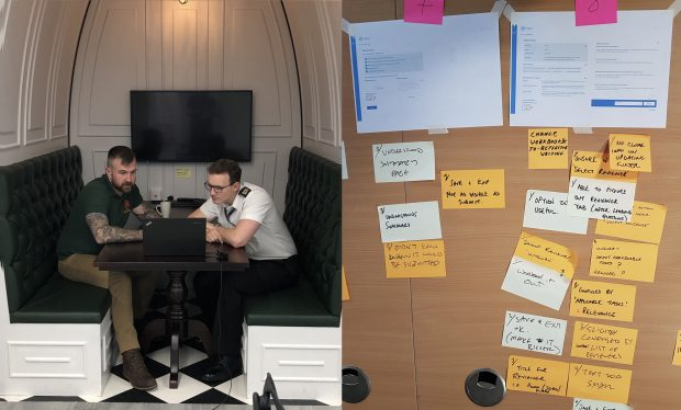 A photo of Caption: Left: Participant testing with an MA user. Right: Notes from observers: yellow - were for positive comments, orange - were questions/suggestions or things that confused.