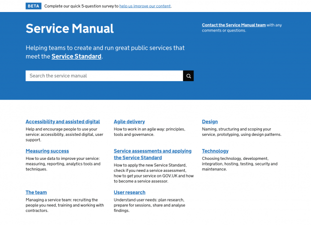 A screenshot of the GOV.UK service manual