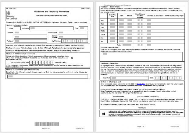 A digital version of the Occasional and Temporary Allowances paper form