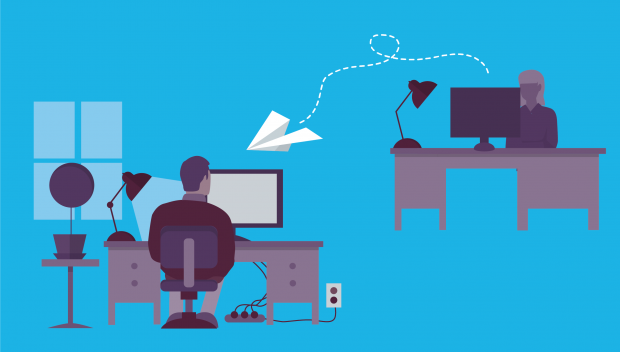 A graphic showing two people sat at their desks with a paper airplane travelling between their computers