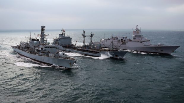 Ships being replenished at sea