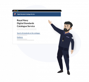 A graphic showing a male in Navy dress pointing to a screenshot of the Royal Navy standards site.