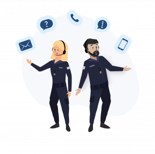 A graphic showing a male and female in Navy dress wearing microphones and surrounded by an envelope, question mark. telephone, exclamation mark and smartphone.