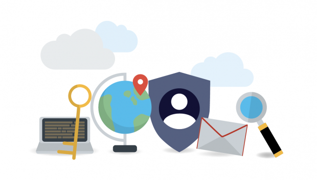 A graphic showing a laptop, globe, envelope and magnifying glass