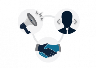 A graphic showing two hands shaking, a megaphone and the silhouette of a person's head with lines either side of their ears, indicating that they are listening.