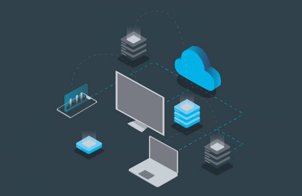 A graphic showing a computer monitor and a laptop linked to a cloud via dotted lines.