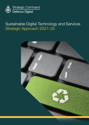 A image showing the front cover of the Sustainable Digital Technology and Services Strategy