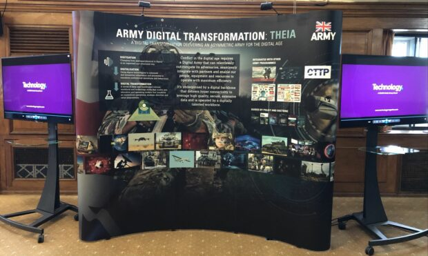 An image of the banner displayed at RUSI's Land Warfare Conference on 30 June 2021