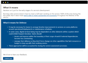 The 'What it means for Defence' box in the Royal Navy Digital Service Standard